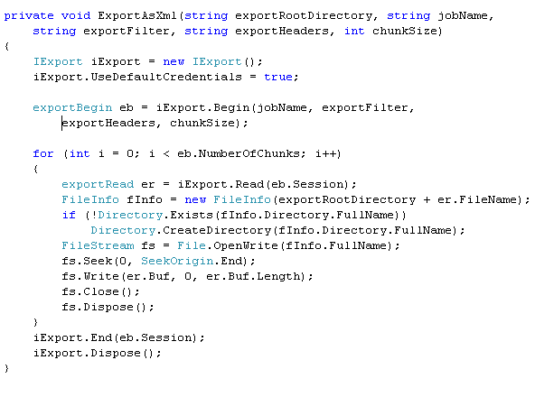 Sample code for execution of the Marshal Integrator