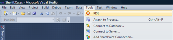 The RISE tools menu item