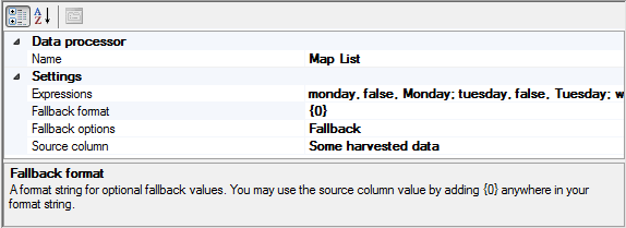 Map Listl data processor properties